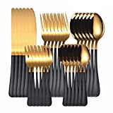 30Pcs Set di stoviglie da cucina Forchette Coltelli Set di cucchiai Set di posate in acciaio inossidabile Coltello Forchetta Cucchiaino Cucchiaino blackgold 30pcs