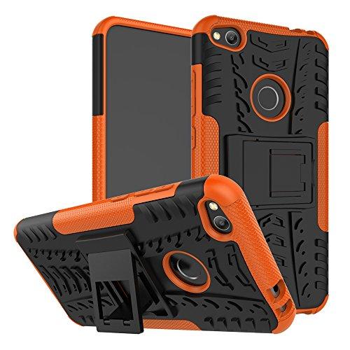 pinlu Funda para Huawei P8 Lite 2017 Smartphone Doble Capa Híbrida Armadura Silicona TPU + PC Armor Heavy Duty Case Duradero Protección Neumáticos Patrón Naranja