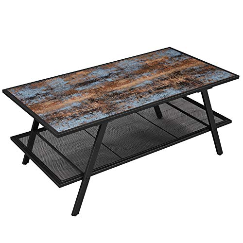 VASAGLE Industrial Coffee Table with Storage Mesh Shelf, Cocktail Table with Metal Frame, Easy...