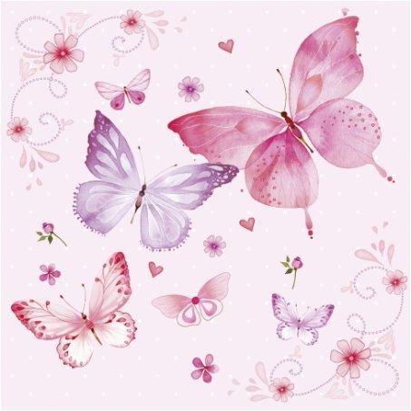 20 Servietten Pinke Schmetterlingswelt/Frühling/Schmetterlinge/Tiere 33x33cm