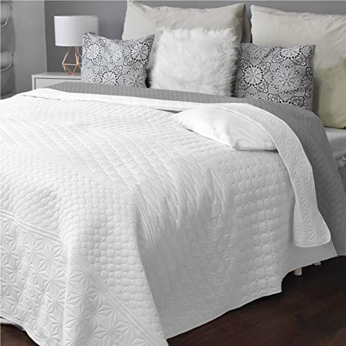HOMELEVEL Colcha para cama y sofá, tamaño XXL, 170 x 220 cm, color blanco/gris