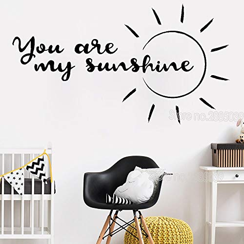 SAKHD You are My Sunshine Quote Wall Sticker for Kids Baby Room Vinyl Inspirational Word Wall Decals Art Wallpaper Hot 101cmX56cm