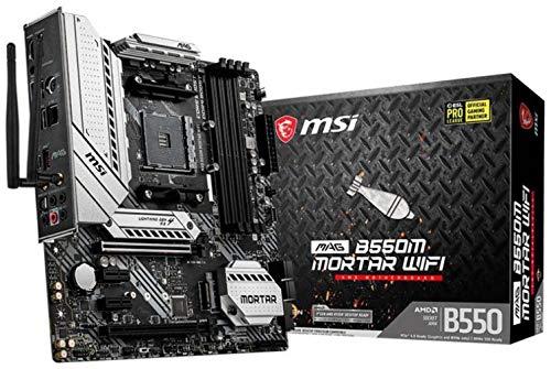 MSI MAG B550M MORTAR - Scheda madre MATX, AM4, DDR4, Dual M.2, LAN, 802.11ax WiFi 6 + Bluetooth 5.1, USB 3.2 Gen2, Front Type-C, Mystic Light RGB, HDMI, DisplayPort, AMD RYZEN 3000 3a generazione