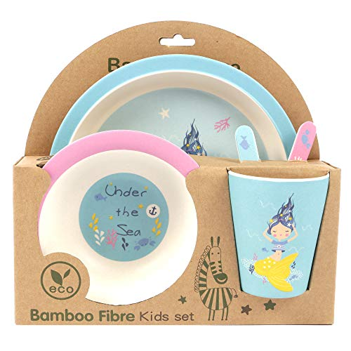 ORNAMI 5-Piece Bamboo Dinner Set for Children, Mermaid Design - Kids Dinner Set Includes Round Bamboo Plate, Toddler Cutlery, Bamboo Bowl and Kids Cup - Eco Friendly, BPA Free and Dishwasher Safe