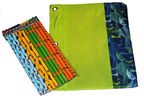 Boys Binder Pencil Pouch with Pencils (Green Dinosaurs)