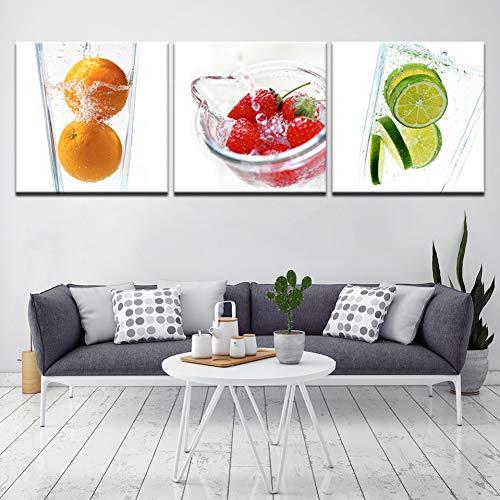 ZXCVWY 3 Paneles Arte Moderno Pintura sobre Lienzo Pared Fruta Decoración del Hogar Cuadros para La Cena Decoración De La Cocina