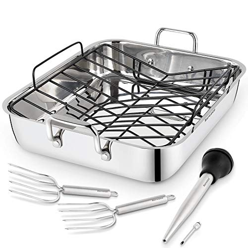 Rorence Roasting Pan with Rack: 16-Inch Stainless Steel Rectangular Turkey Roaster pan with...