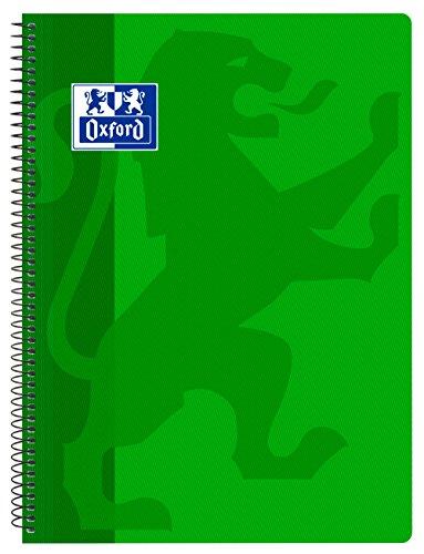 Oxford Classic - Cuaderno espiral, tapa plástico, cuadrícula 4x4, color verde