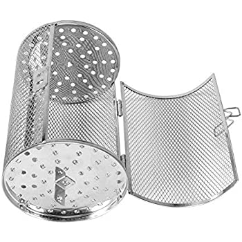 ALLOMN Iron Alloy Grill Racks Silver Grill Roaster Drum for Peanut Dried Nut Coffee Beans BBQ Practical Rotisserie Oven Basket