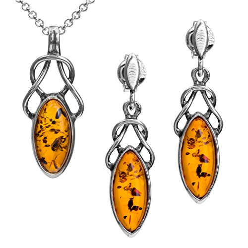 Light Amber Sterling Silver Celtic Marquise Shape Earrings Pendant Necklace Set Chain 18'