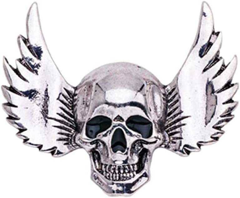 Zonster Vintage 3D Winged Skull Lapel Pin Simple Halloween Badge Evening Costume Brooch for Party