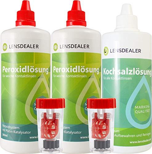 LensDealer Peroxidlösung Multipack 2x 360ml + 1x 360ml Kochsalzlösung + Behälter, Pflegemittel für weiche Kontaktlinsen Kontaktlinsenflüssigkeit