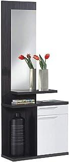 Habitdesign 016746G - Recibidor con espejo color Gris Ceniza y Blanco Brillo dimensiones 186 x 61 x 29 cm de fondo
