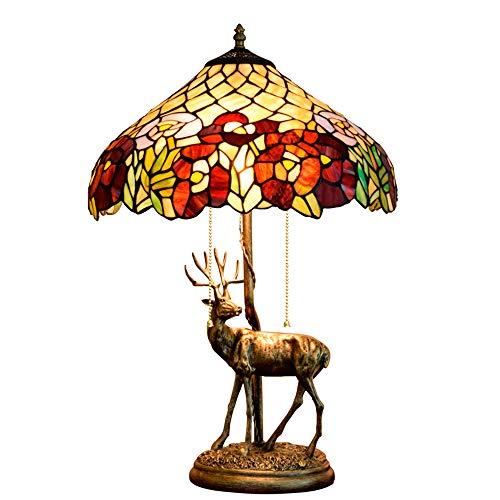 Rokoko Lampe Barock Lampe Tiffany Rose Tischlampe CE-Zertifizierung 2 Scheinwerfer Harz Basisfarbe...