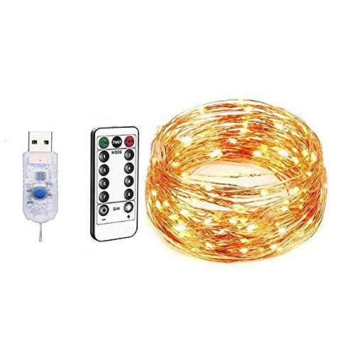 LogIme LED luce leggiadramente 20M 200 telecomando USB 8 Modalità LED impermeabile Natale Home Camera parete esterna luci decorative (bianco caldo)