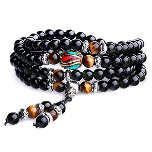 coai Obsidian Tiger Eye Stone 108 Mala Beaded Wrap Bracelet Necklace