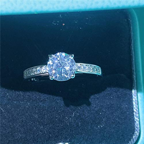 LuckyOne Anillo de compromiso de plata de ley 925 con 40 estilos, AAAAA, piedra de circonita cúbica, alianzas de boda, para mujer, joyería de compromiso, 8, estilo 36