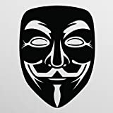 Anonymous Mask Black Vinyl Decal   Anonymous Stickers V for Vendetta Sticker Guy Fawkes Sticker Hacker Mask Sticker Anonymous Decal  Premium Quality   5.5-Inches   D013