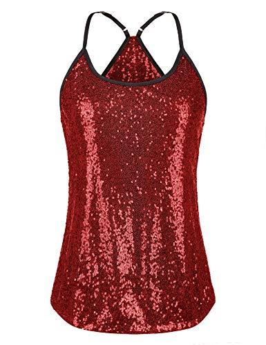 UNibelle Débardeur Paillettes Femme sans Manche Haut Femme Chic Tops Tee-Shirt Casual (Rouge,S)