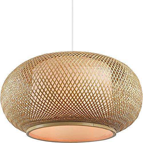 BAYCHEER Handmade Rattan Lampshade Pendant Ceiling Shade,Pumpkin Shape, Tropical DIY Wicker Rattan Lamp Shades Weave Hanging Light (19.5')