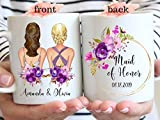 DKISEE - Taza personalizada, diseño de dama de honor, color lila, cerámica, blanco, 15 oz