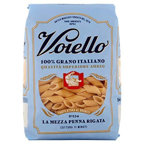 Voiello Pasta Mezze Penne Rigate N.154, Pasta Corta di Semola Grano Aureo 100% - 500 g