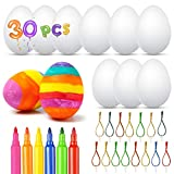 Huevos de Pascua, FVSA Decoración de Pascua con 30 Huevos Blancos Plásticos, Huevos de Pascua Manualidades, Huevo de Pascua Juguetes Favores de Partido, Regalos para Niños (con 6 marcadores de Color)