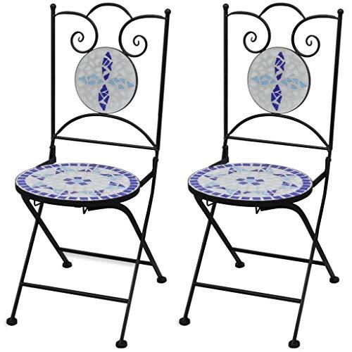 Cikonielf 2 sillas plegables con decoración de mosaico, sillas de restaurante, sillas de exterior para balcón, terraza o jardín, 37 x 44 x 89 cm, azul + blanco