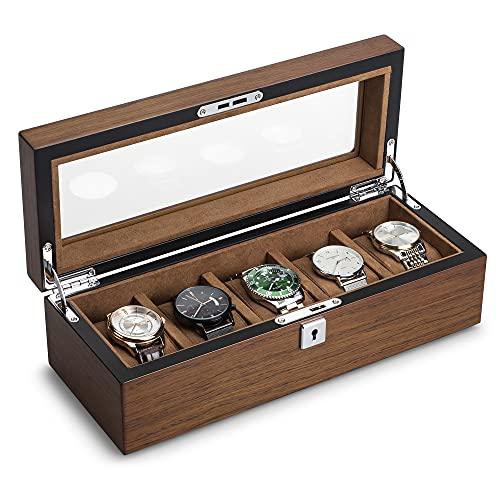 QIWODE - Caja de madera para reloj con 5 rejillas, estuche de almacenamiento para reloj, organizador de reloj con tapa de cristal y almohada (5 Ranuras)