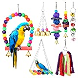 w Worlyee Bird Parrot Swing Toys, 7 Packs Parrot Swing Toys Hanging Bell Hammock Cage Perches Set for mall Parakeets, Budgie, Conures, Finches, Macaws, Cockatiel, Parrots and Other Birds