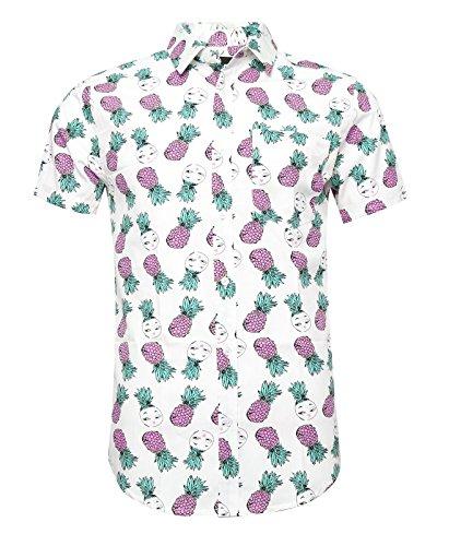 SOOPO Camisa para Hombre con Estampado de Piña Pequeña Aloha Hawaiian Shirts, Camiseta Rosa y Cómoda para Verano, XXXL
