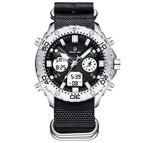 Mode Outdoor-Sport-Männer Beobachten Dual-Display-Leinwand -Digital-Uhren Männer Uhr Silber Fall Hyococ (Color : S B)