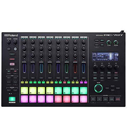 Roland MC-707 Groovebox Music Production Workstation Includes Free Wireless Earbuds - Stereo Bluetooth In-ear and 1 Year Everything Music Extended Warranty
