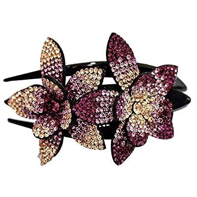 Rhinestone Double Flower Hair Clip, Hair Comb R...