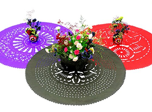 3 Round Place Mats 23 Inches Across, Papel Picado Decoration, Wedding placemats