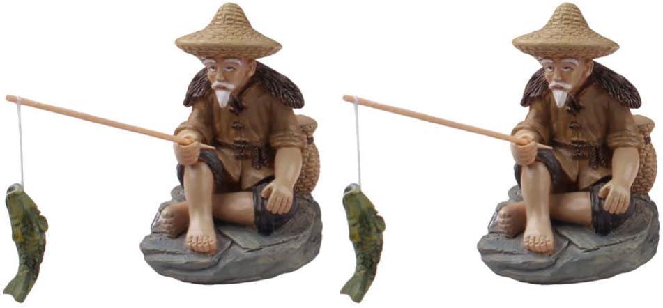 Cabilock 2Pcs Miniature Fisherman Figurine Fairy Garden Bonsai Statue Ornaments for Micro Landscape Fish Tank Zen Sand Fairy Garden Decor