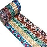 Meiwash Washi Tape Set Adhesivo decorativo Multi-patrón Washi Cinta adhesiva Scrapbooking y Bullet Journaling Tape Decoración para regalos de bricolaje Artes y oficios (Flores y hojas, paquete de 5)