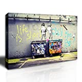 Graffiti wall art prints on premium canvas, professionally stretched and stapled on a wooden frame. Each panel has a black hook mounted on the wooden bar, ready for hanging. The total size is 12x16inch(30x40cm). A great prints wall art gift for relat...