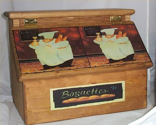Bread Box Fat Chef Handcrafted Solid Pine made in USA Stained Golden Oak