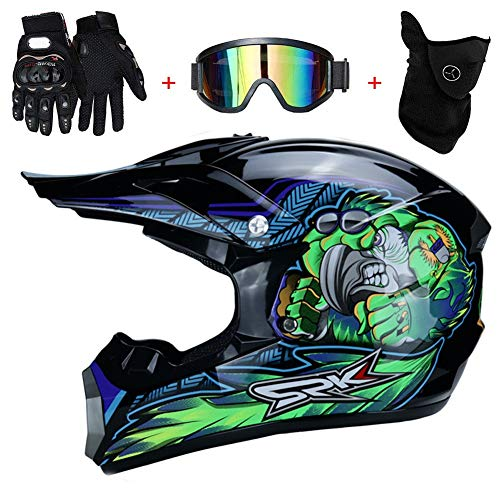 AMITD Casco de Motocross para Motocross, Casco Motocross Enduro Quad MTB con Gafas/Máscara/Guantes, Casco Cross Quad Off Road ATV Scooter, Apto para Adultos y niños, M