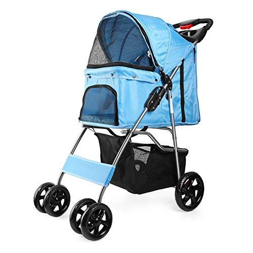 Flexzion Pet Stroller (Blue) Dog Cat Small Animals Carrier...