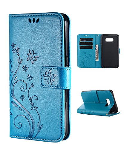 FLYEE Case Compatible with Samsung Galaxy S8 (5.8 inch,Released in 2017),Wallet Case for Women and Girls with Card Holder,[Embossed Butterfly Flower] Leather Flip case Kickstand for Galaxy S8-Blue