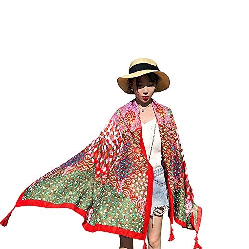 KSSPOI Sombrilla Junto al mar, Toalla de Playa, Chal de Viaje, Bufanda Toalla de Estampado Floral Moda Chales para Mujeres Bufandas Abrigos Diseño Satén Largo Damas Dama Chal Abrigo