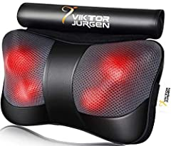 HOW TO MASSAGE: Powerful 3D rotating massage nodes deep-kneading shiatsu massage to relax overused and tight muscles; Gentle heating function soothes aching muscles and can be turned on & off with ease. PERFECT MASSAGE SPOT: VIKTOR JURGEN Massage Pil...