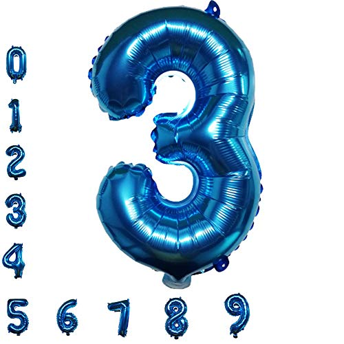 Blue Number Balloons, 40inch Digital Foil Birthday Balloons for Party Baby Shower Graduation Bridal Engagement Photo Shoot Anniversary (Number 3)