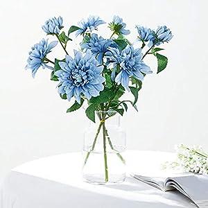 Efavormart Pack of 2-31″ Dusty Blue Dahlia Flower Stem, Silk Flower Spray for DIY, Weddings, Bridal Bouquets, Parties, Anniversary, Home, Centerpieces, Garden, Flowers Décor