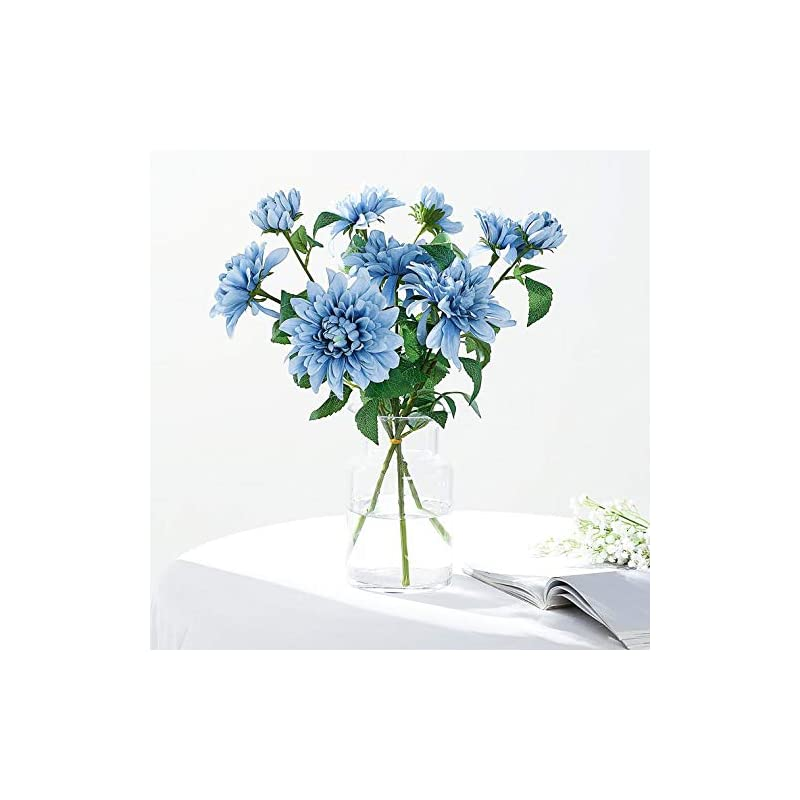 "silk flower arrangements efavormart pack of 2-31"" dusty blue dahlia flower stem, silk flower spray for diy, weddings, bridal bouquets, parties, anniversary, home, centerpieces, garden, flowers décor"