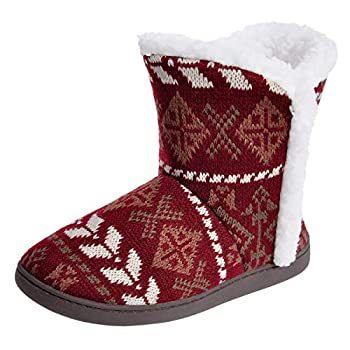 MIXIN Women s Anti Slip Knitted Woolen Striped Faux Fleece Lined Indoor Outdoor Slipper Boots 7-8 M Red