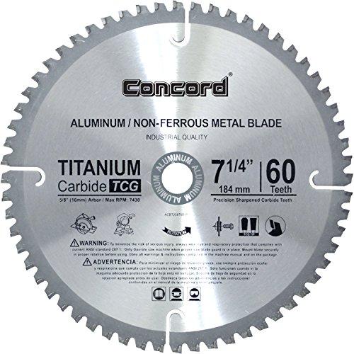 Concord Blades ACB0725T060HP 7-1/4' 60 Teeth TCT Non-Ferrous Metal Saw Blade