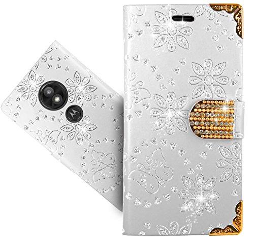 Moto E5 Play Handy Tasche, FoneExpert® Wallet Hülle Cover Bling Diamond Hüllen Etui Hülle Ledertasche Lederhülle Schutzhülle Für Motorola Moto E5 Play/Moto E Play (5th Gen.)